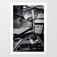 Bicyclette vintage retro bike black and white Art Print