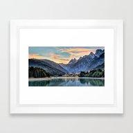 Mountain & Lake Sunset Framed Art Print
