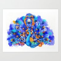 Sapphire And Gold Peacoc… Art Print
