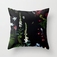 Foxgloves, Ferns And Lon… Throw Pillow