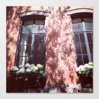 Brownstone + Hydrangeas Canvas Print