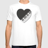 Piano Heart Mens Fitted Tee White SMALL