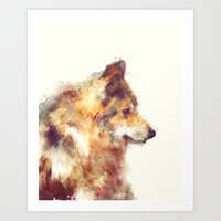 wolf Art Prints featuring Wolf // True by Amy Hamilton