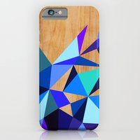 iPhone Cases featuring Wooden Geo Blue by Jenny Mhairi
