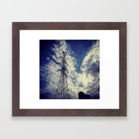 Heavenly spring sky in an industrial world Framed Art Print