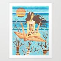 Crane Girl Art Print