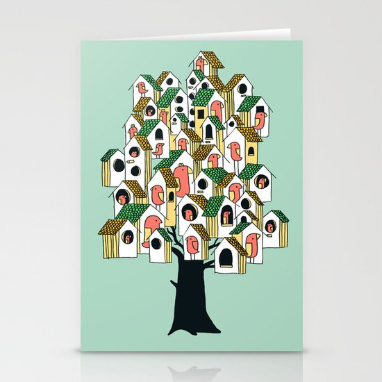 Bird houses Stationery Card