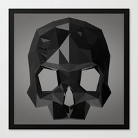 Black skull low poly Canvas Print