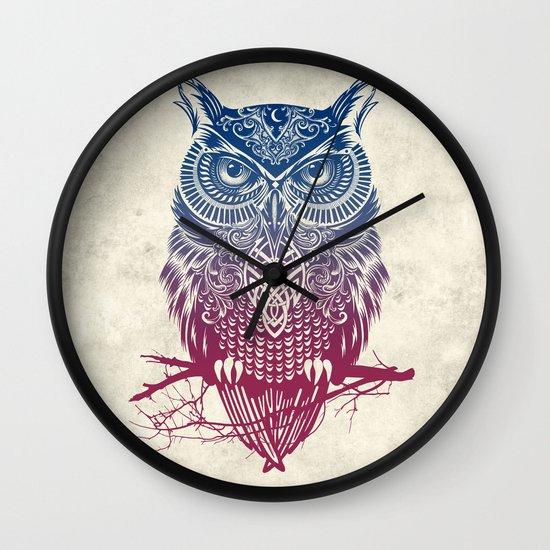 Evening Warrior Owl Wall Clock