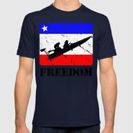 FREEDOM! Drag Boat Mens Fitted Tee Navy SMALL