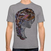 Braided Hair Mens Fitted Tee Athletic Grey SMALL