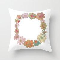 Halftone Flower Ring Throw Pillow