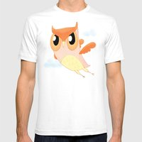 Orange Owl Mens Fitted Tee White SMALL