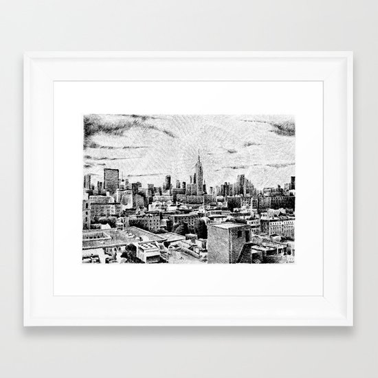 New York City - Fingerprint - Black ink Framed Art Print
