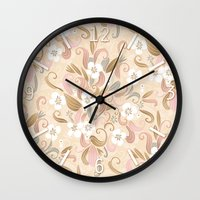 Floral curve pattern, rose gold Wall Clock
