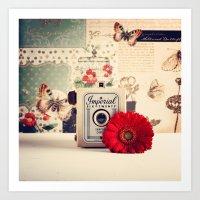 Retro Camera And Red Flo… Art Print