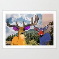 Colorful Deer Art Print