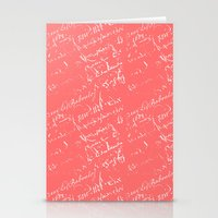 French Script On Coral Stationery Cards
