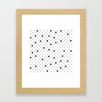 Pin Points Polka Dot Black and White Framed Art Print