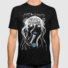 Jellyfish Poetry (Black Tees) Mens Fitted Tee Tri-Black SMALL