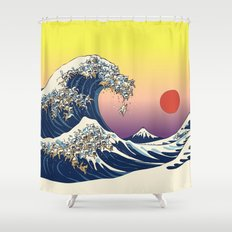 The Great Wave Of  Cat Shower Curtain