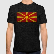 Flag of Macedonia in Super Grunge Mens Fitted Tee Tri-Black SMALL