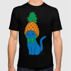 Blue Cat Wears Pineapple Hat SMALL Black Mens Fitted Tee