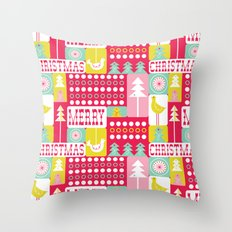 Festive Christmas Collage Throw Pillow