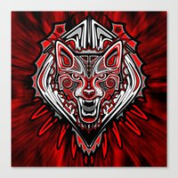 Wolf Tattoo Style Haida … Canvas Print