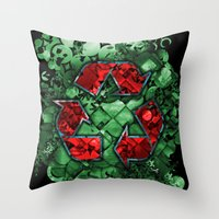 Recycle World - Green Throw Pillow