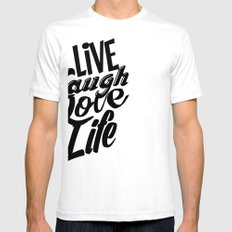 Live Laugh Love Life Mens Fitted Tee SMALL White