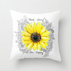 Don't Worry, Be Happy Sunflower Throw Pillow