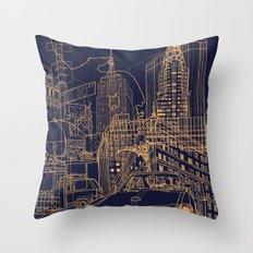 New York! Night Throw Pillow