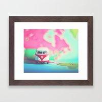 Red & White VW Bus Framed Art Print