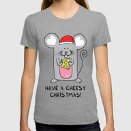 Have A Cheesy Christmas Womens Fitted Tee Tri-Grey SMALL