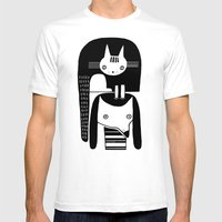 CAT ON DOG HEAD Mens Fitted Tee White SMALL