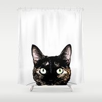 Peeking Cat Shower Curtain