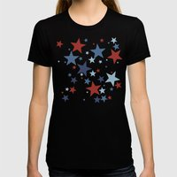 Stars - Red, White and Blue Womens Fitted Tee Black SMALL