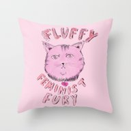 Fluffy Feminist Fury Throw Pillow