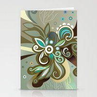 Floral curves of Joy, olive Stationery Cards