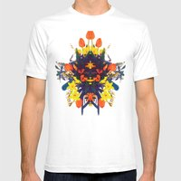 CRAZY FLOWERS Mens Fitted Tee White SMALL