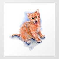 Happy Orange Kitten Art Print