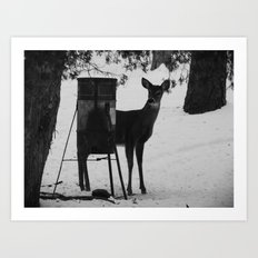 deer b&w Art Print
