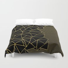 Abstract Outline Grid Gold Duvet Cover