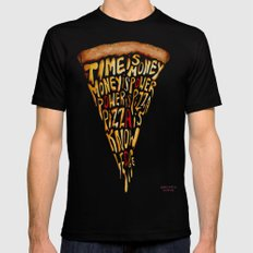 Pizza is Power SMALL Black Mens Fitted Tee