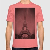 Vintage Eiffel Tower Mens Fitted Tee Pomegranate SMALL