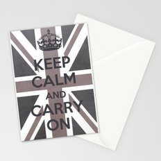 Keep Calm and Carry On UK - Purple/Grey Stationery Cards