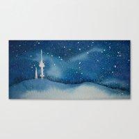 Seoul Winter Night Blues Canvas Print