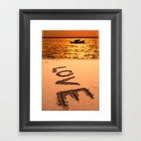 Love Written in the Sand Framed Art Print