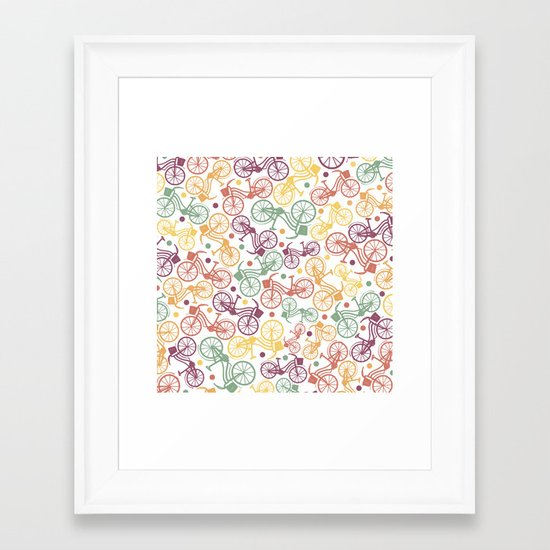 Whimsical bicycle pattern & retro polka dots Framed Art Print